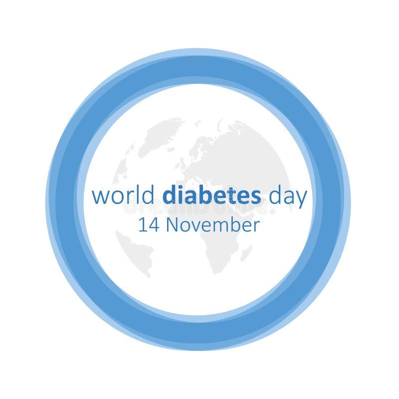 Monde diabète jour cercle et terre bleus du 14 novembre illustration libre de droits
