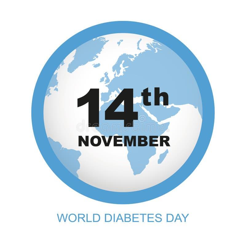 Monde diabète jour la terre de bleu du 14 novembre illustration de vecteur
