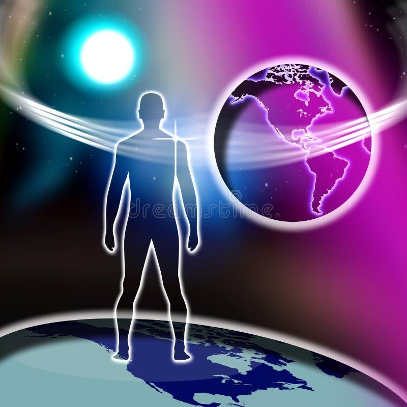 Monde en travers spirituel de foi d'homme   illustration libre de droits