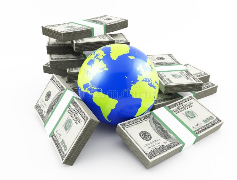 Monde et argent illustration stock