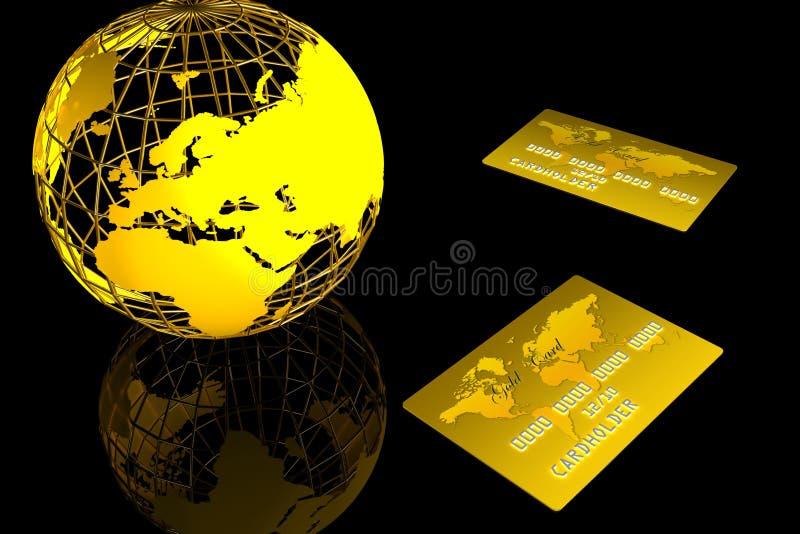 Monde et carte d'or illustration libre de droits
