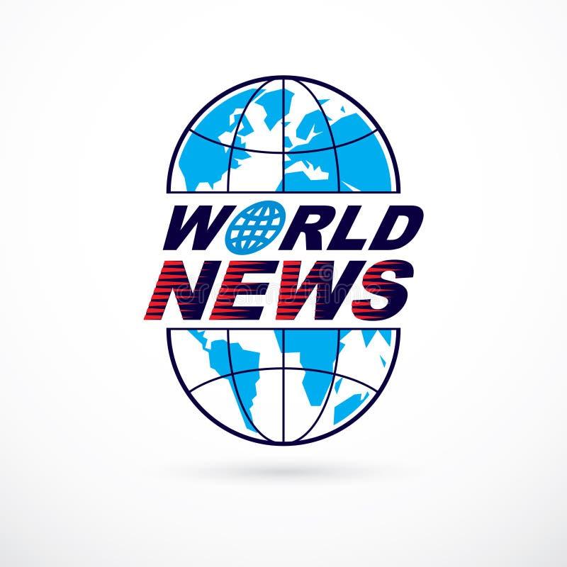 Monde et concept global d'actualités, emblème de vecteur de divid bleu de la terre illustration de vecteur