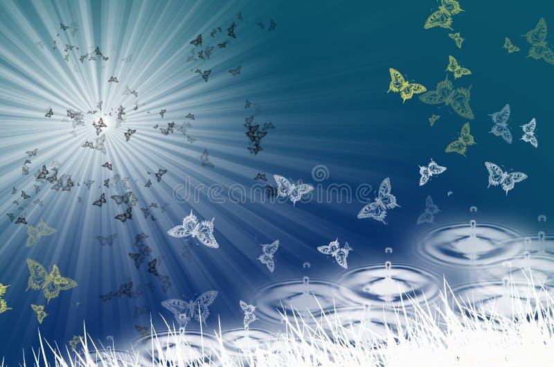 Monde et lumière du soleil de papillon au-dessus de l'eau illustration de vecteur