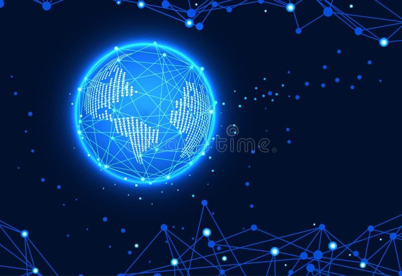 Monde futuriste de concept de technologie abstraite numérique et linéaire, illustration stock