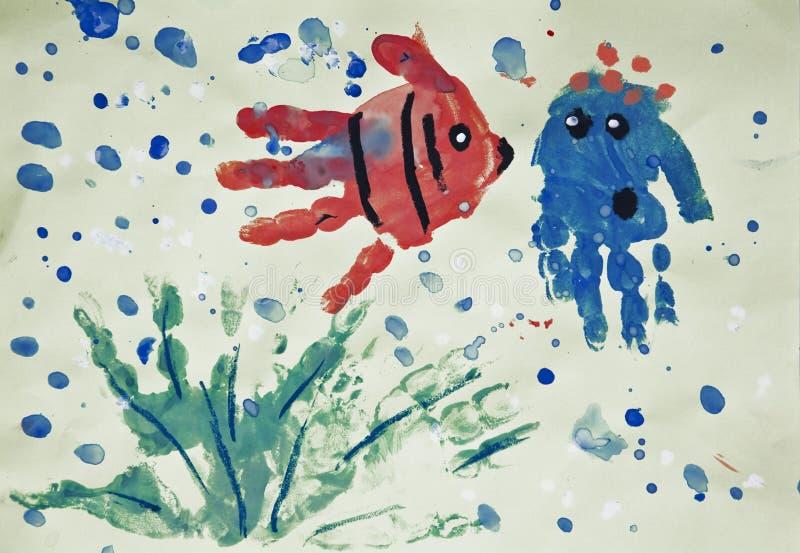 Monde, handprints peints de l'enfant photos libres de droits