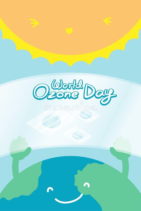 Monde l'ozone jour ensemble vertical de bannière du 16 septembre, terre de sourire de concept de réchauffement global avec la dif illustration stock