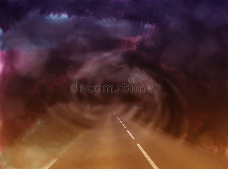 Monde mystérieux de dans l'abstrait de route par un tunnel sombre illustration stock