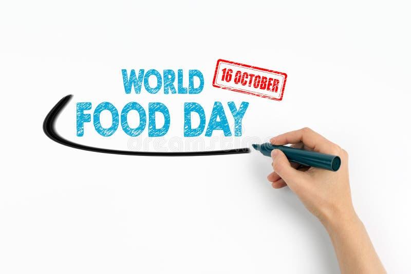 Monde nourriture jour 16 octobre Texte sur un fond blanc images stock