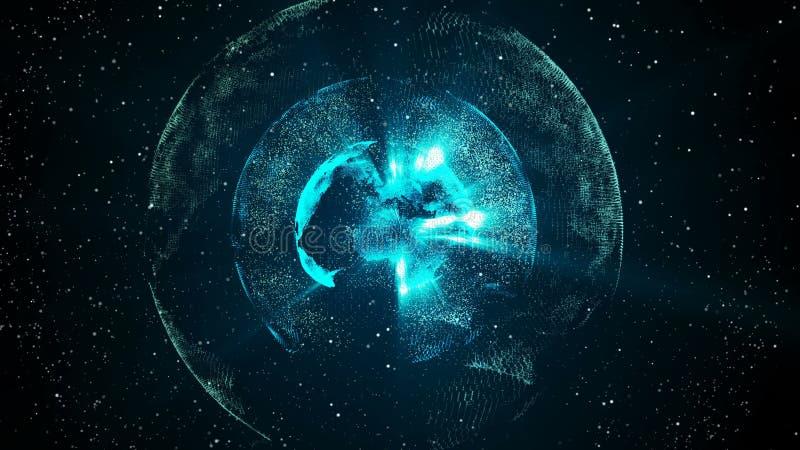 Monde numérique à l'intérieur de la planète, domaine de l'information, robots, développement de l'apprentissage machine illustration libre de droits