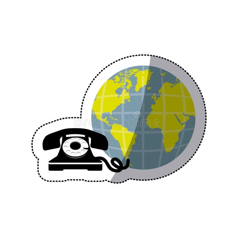 monde opaque de la terre d'autocollant avec le téléphone d'antiquité de silhouette illustration libre de droits