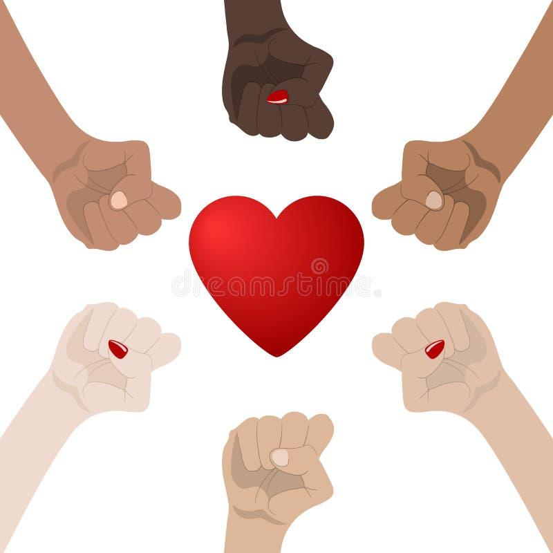 Monde racial et ?galit? entre les sexes Unit?, Alliance, ?quipe, concept d'associ? Tenir des mains montrant l'unit? ic?ne de rela illustration stock