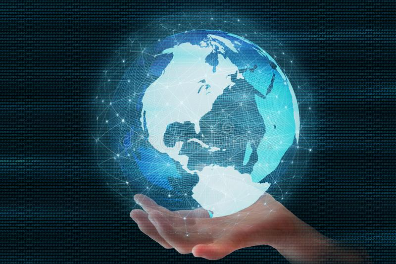 Monde rapide contagieux La sphère futuriste de globe a mené entouré par la connexion réseau globale photographie stock libre de droits