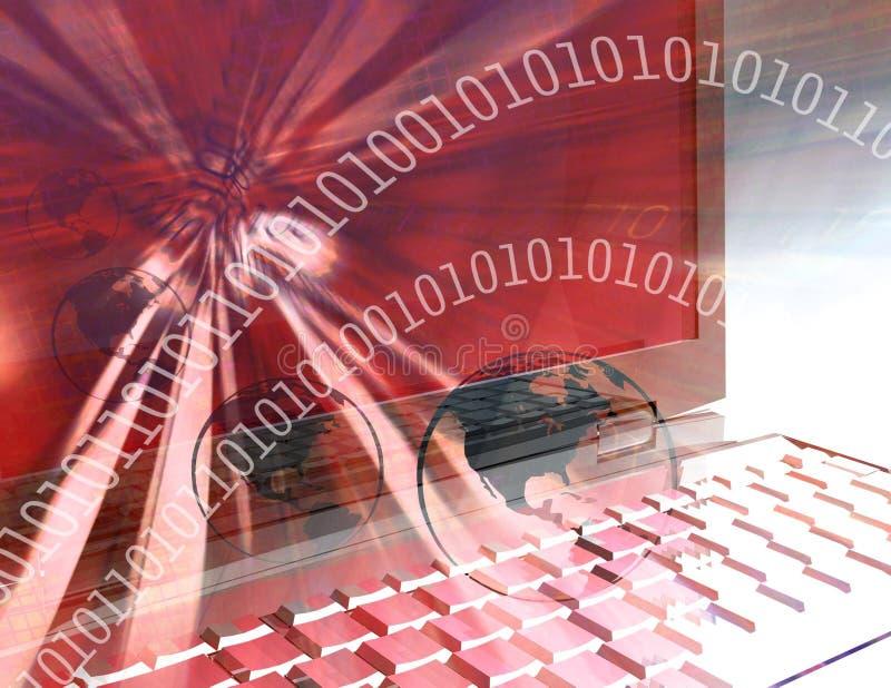 monde rouge de technologie d'ordinateur illustration stock