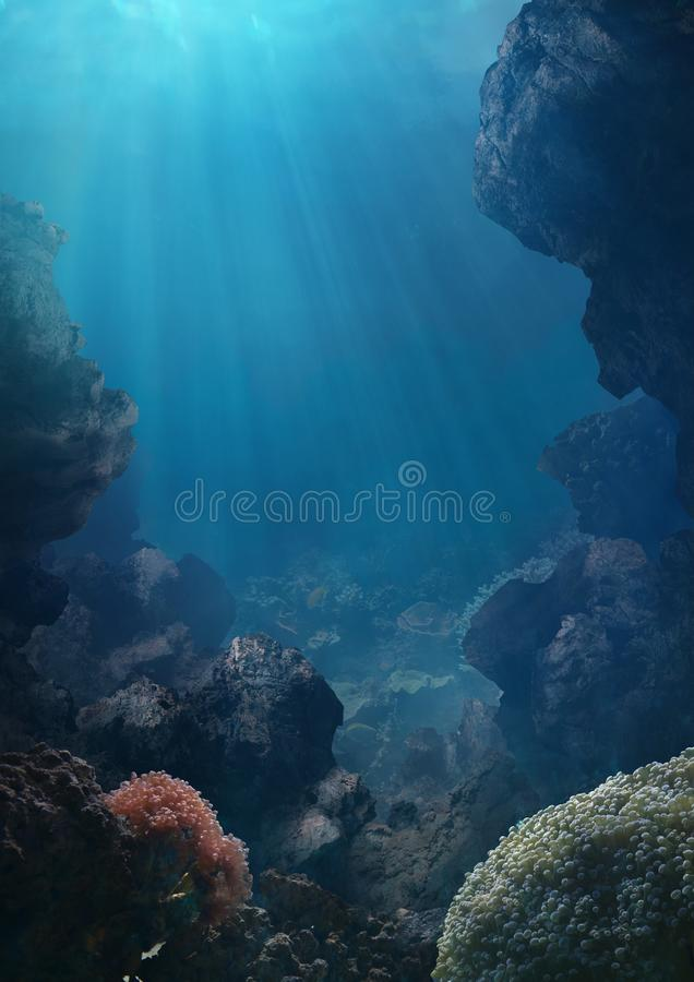 Monde sous le fond océanique illustration stock