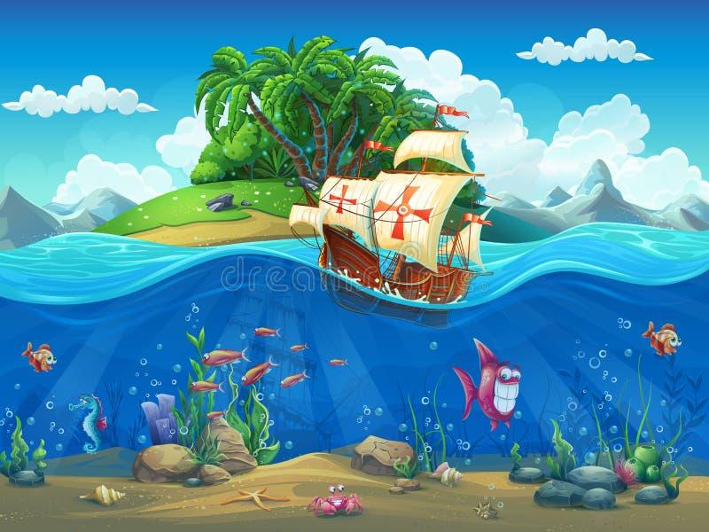 Monde sous-marin avec l'île et le bateau de navigation illustration stock