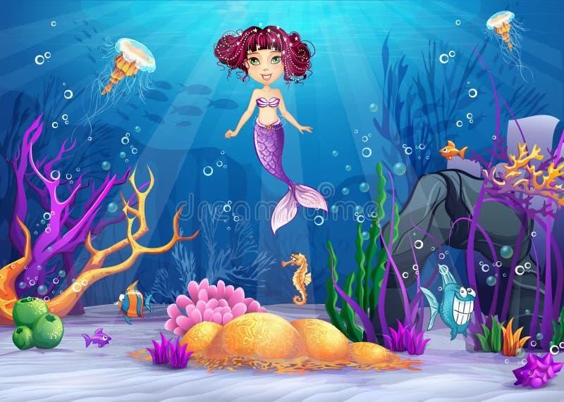 Monde sous-marin avec une sirène avec les cheveux roses illustration libre de droits