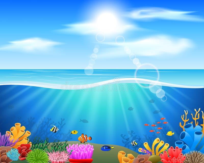 Monde sous-marin de bande dessinée avec des poissons illustration de vecteur