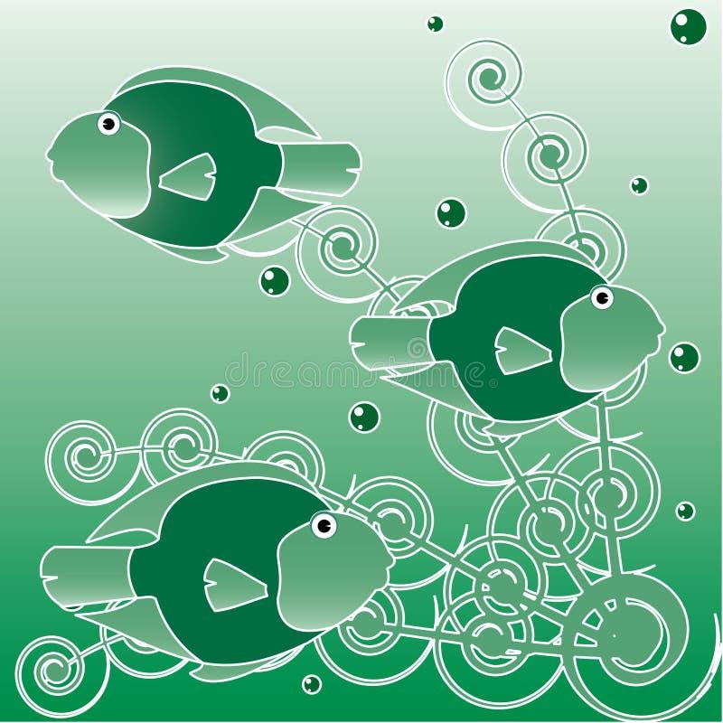 monde sous-marin de mer verte de poissons d'algues illustration stock