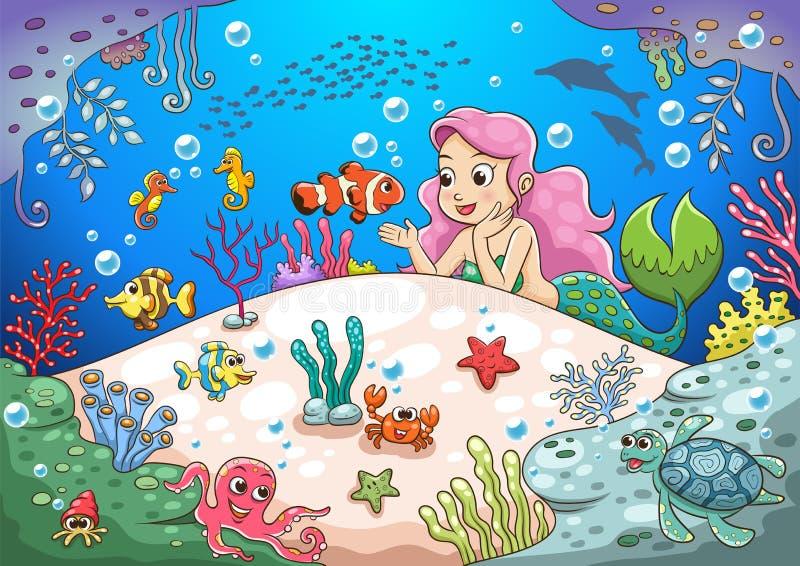 Monde sous-marin de sirène mignonne de bande dessinée illustration libre de droits