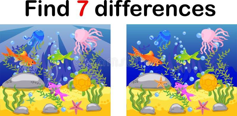 Monde sous-marin, fond océanique avec le poulpe, sous-marin, baleine, poissons, coraux et coquilles de mer Jeu éducatif pour des  illustration stock