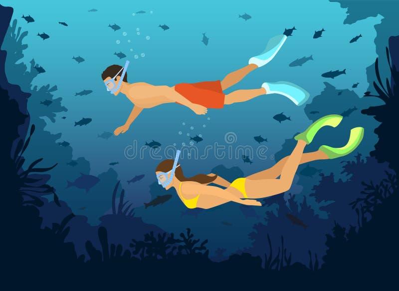 Monde sous-marin l'explorant naviguant au schnorchel de plongée d'homme et de femme avec des poissons, coraux, récifs illustration libre de droits