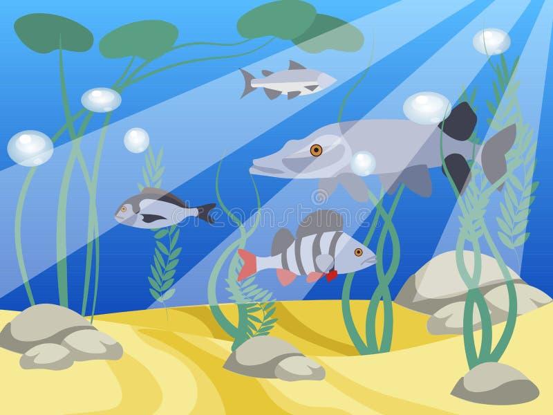 Monde sous-marin, un réservoir Animaux et nature du lac Dans le vecteur plat de bande dessin?e minimaliste de style illustration de vecteur