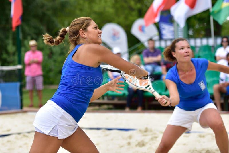 Monde Team Championship 2015 de tennis de plage images stock