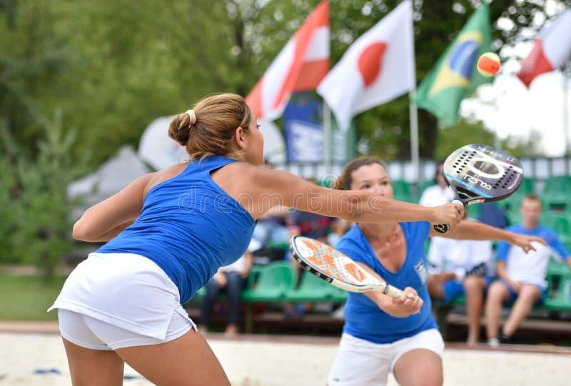 Monde Team Championship 2015 de tennis de plage image libre de droits