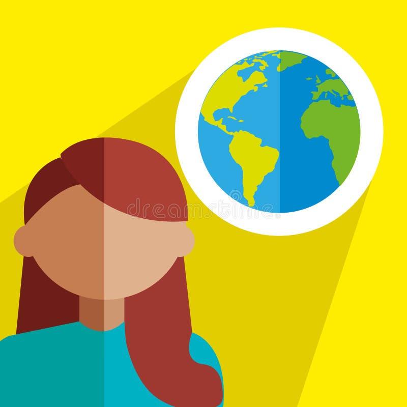 Monde, voyage, conception de femmes illustration libre de droits