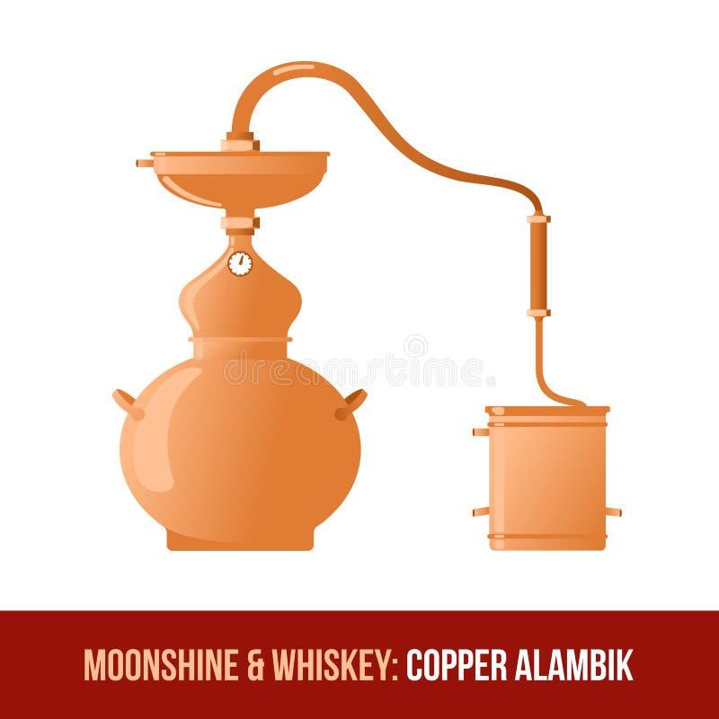 Mondenschein und Whisky Kupfernes alambik stock abbildung