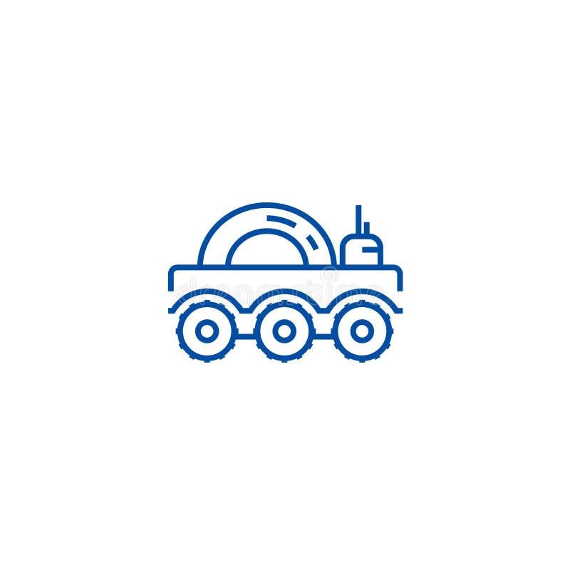 Mondfahrzeuglinie Ikonenkonzept Flaches Vektorsymbol des Mondfahrzeugs, Zeichen, Entwurfsillustration stock abbildung