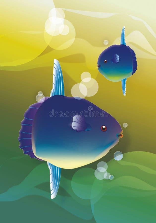 Mondfische und -meer lizenzfreie abbildung