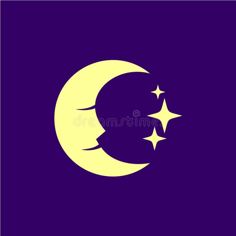 Mondgesicht mit Sternen und tiefer Illustration des blauen Himmels lizenzfreie abbildung