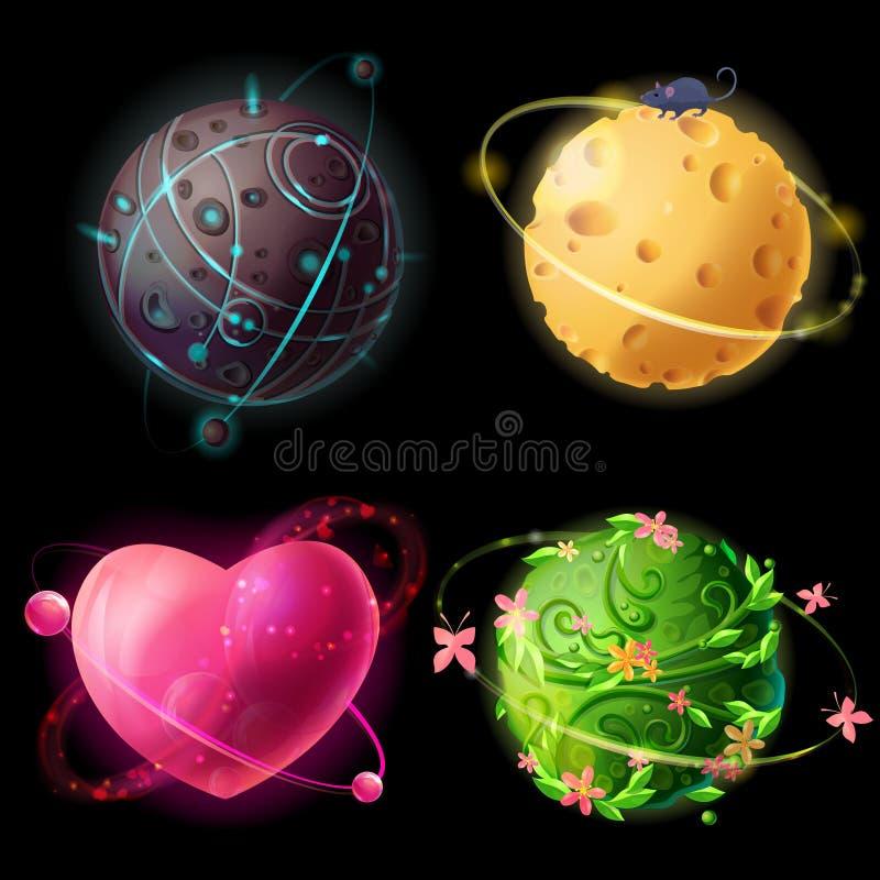 Mondi del fumetto di vettore messi Straniero, formaggio, piante, illustrazione dei pianeti di amore Cosmico, elementi dello spazi illustrazione vettoriale