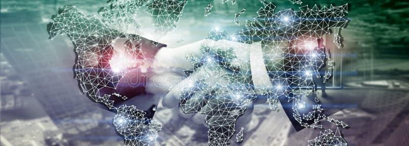 Mondiaal Dubbel de Blootstellingsnet van de Wereldkaart Telecommunicatie, Internationale zaken Internet en technologieconcept royalty-vrije stock foto's