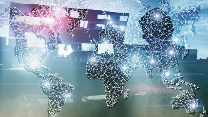 Mondiaal Dubbel de Blootstellingsnet van de Wereldkaart Telecommunicatie, Internationale zaken Internet en technologieconcept stock foto's