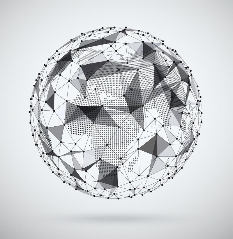 Mondiaal net, gebied met een pixel binnen kaart royalty-vrije illustratie