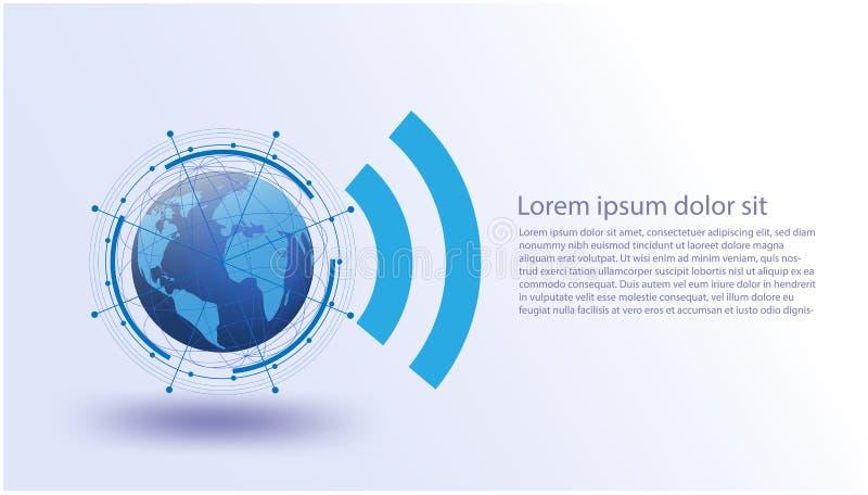 Mondiaal net, Vector futuristisch, Internet van Dingensysteem, verbindingen, voorzien van een netwerk futuristische sociale media royalty-vrije illustratie