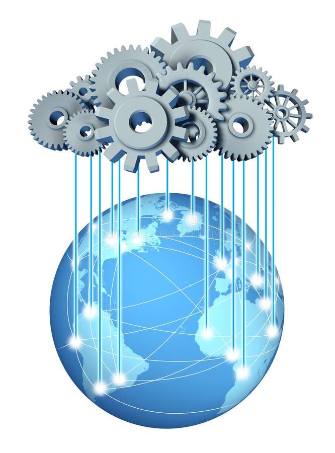 Mondiaal wolk gegevensverwerkingsnet vector illustratie