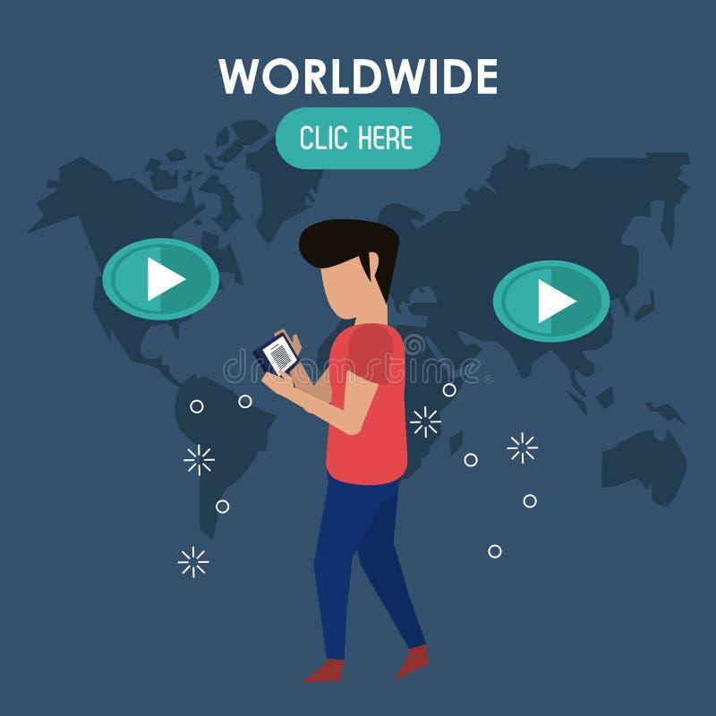 Mondiale clicchi qui illustrazione vettoriale
