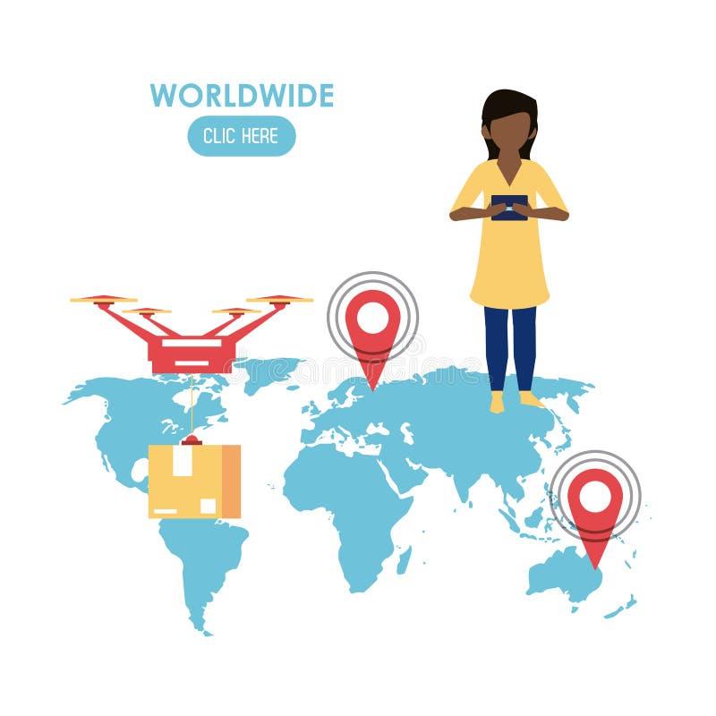 Mondiale clicchi qui illustrazione di stock
