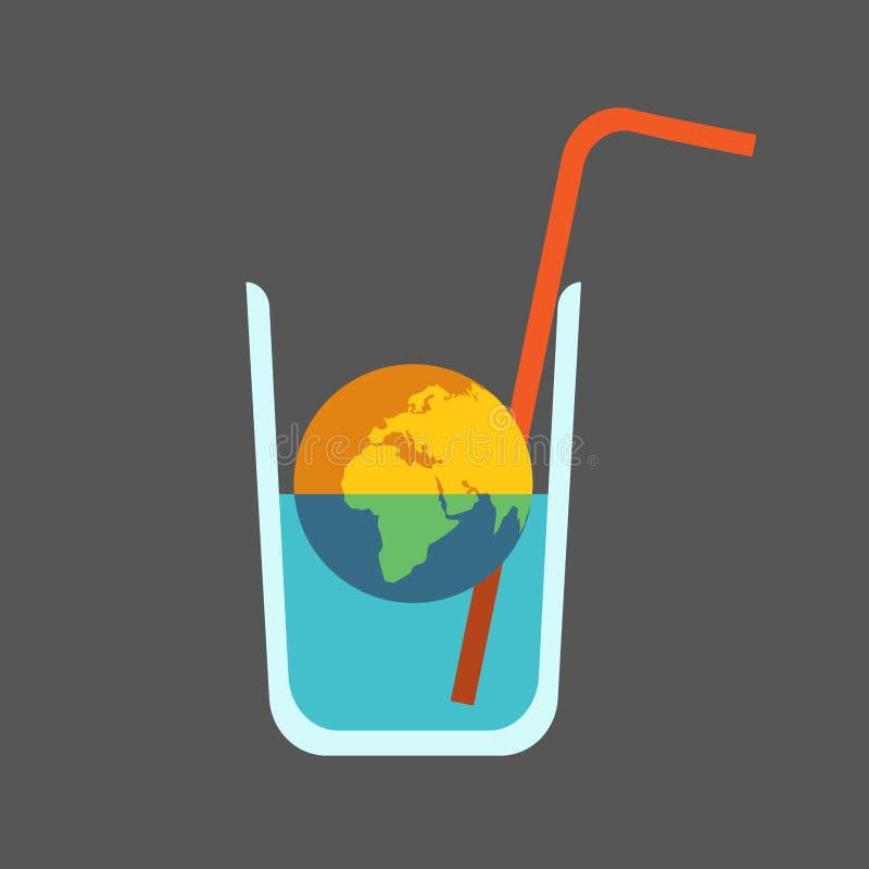 Mondiale Kwestie: Het uitdrogen van de Planeet Half Dode Aarde in half Leeg Glas Water met Stro stock illustratie