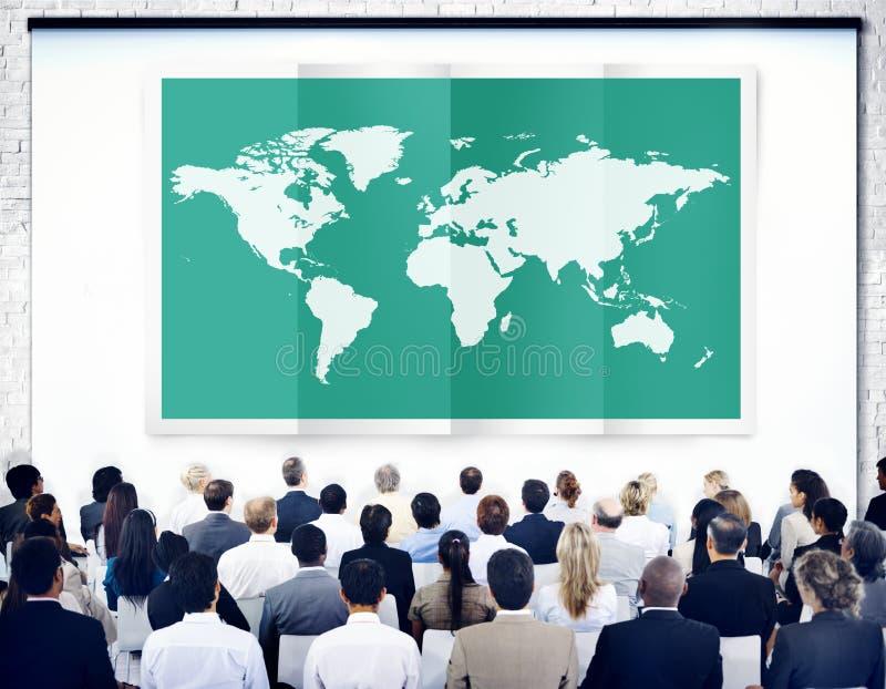 Mondialisation Co internationale de cartographie d'affaires globales du monde image stock