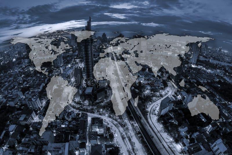 Mondialisation globale de cartographie du monde, vue aérienne de ton bleu de image libre de droits