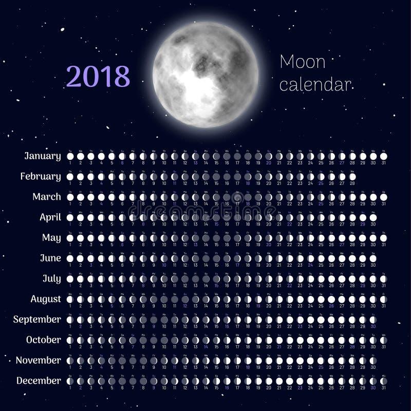 Mondkalender 2018-jährig stock abbildung