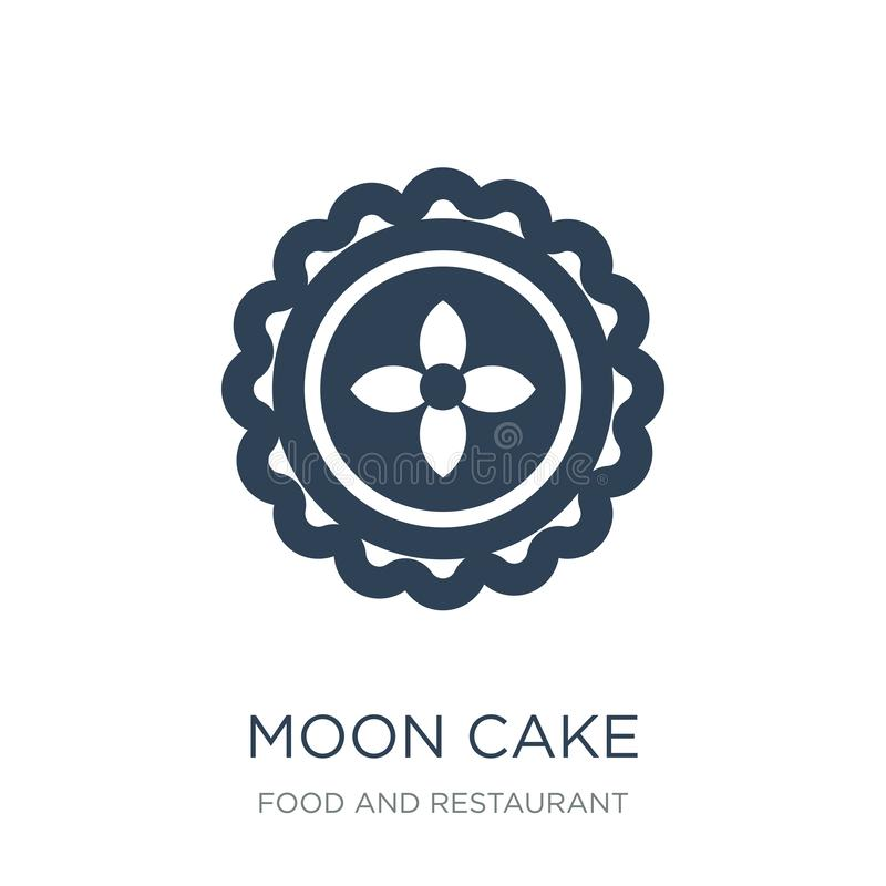Mondkuchenikone in der modischen Entwurfsart Mondkuchenikone lokalisiert auf weißem Hintergrund einfache und moderne Ebene der Mo stock abbildung