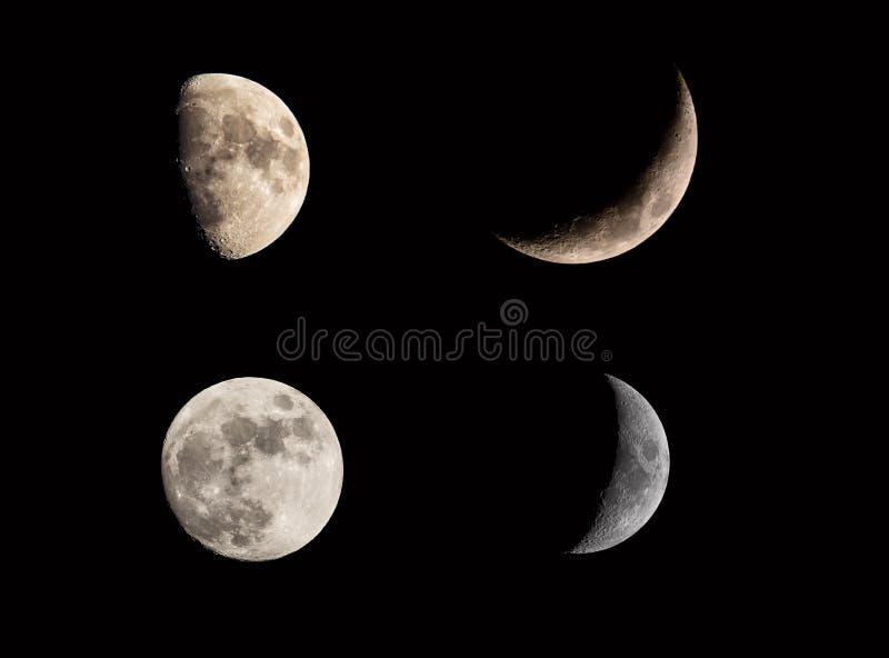 Mondmondfinsternis-Phasencollage stellte auf schwarzen Himmel ein Sichelförmiger und Vollmond Kosmische Beschaffenheiten des Mond stockbilder