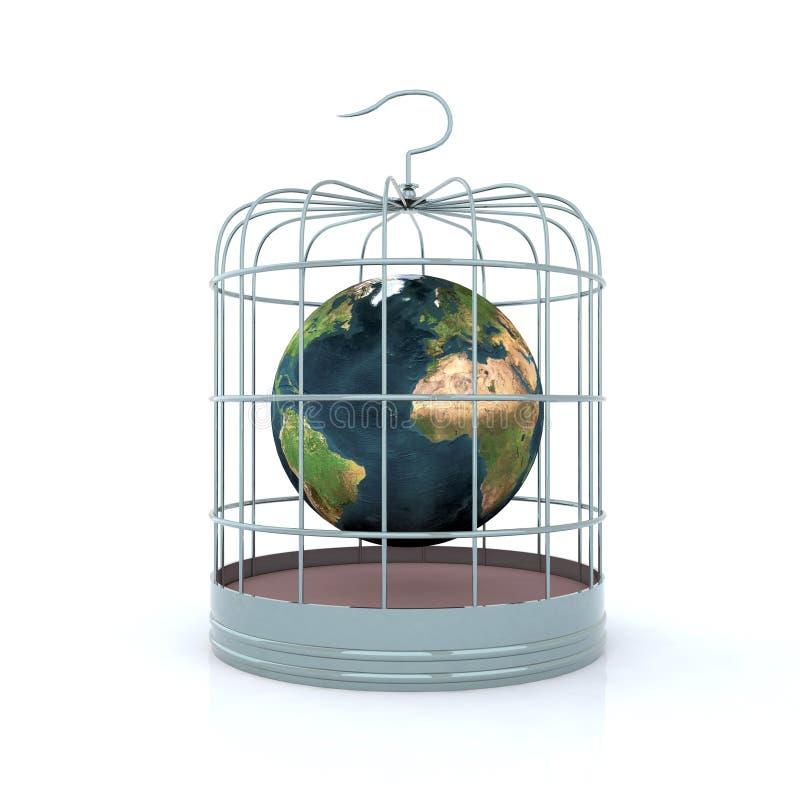 Mondo all'interno del birdcage illustrazione vettoriale