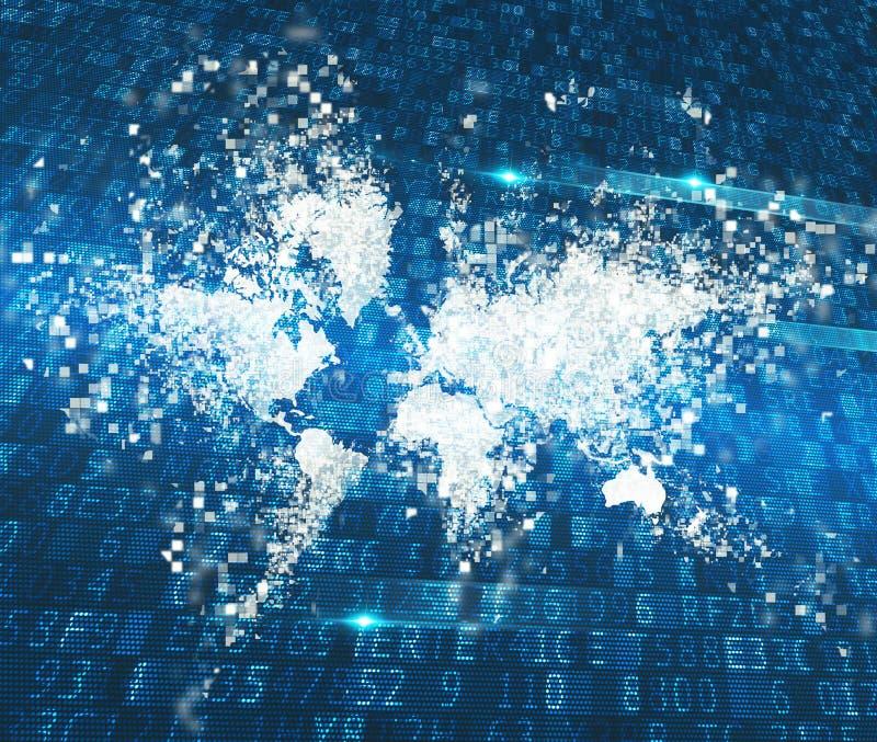 Mondo astratto Concetto di collegamento a Internet globale immagine stock