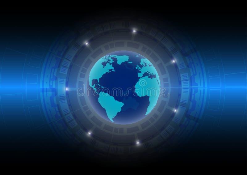 Mondo astratto del fondo di tecnologia nell'era digitale; concetto futuro di tecnologia illustrazione di stock